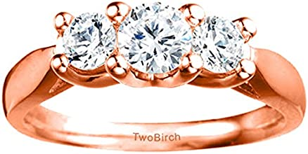 Silver Shared Prong Three Stone Wedding Anniversary Band with Diamonds 172 ct twt
