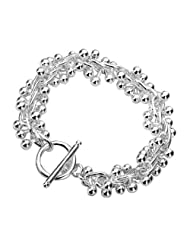 Grapevine T-Bar / Toggle Bracelet - 7.5 inch - 925 Sterling Silver Plated - Tiffany Style - Designer Inspired