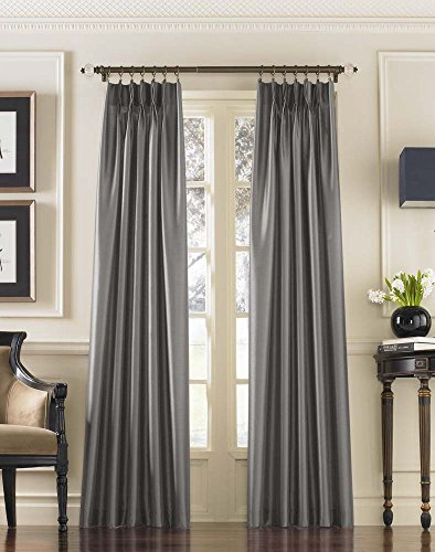 Curtainworks Marquee Pinch Pleat Curtain Panel, Pewter, Faux Silk, 30-Inch x 95 Inch , Solid (Red Faux Silk Curtain Panels 95 compare prices)