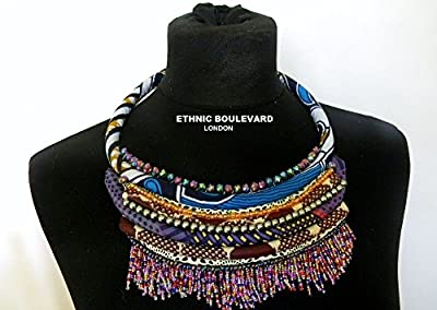 Rope necklace made with African fabrics and finished with glass beads and a bead fringe.