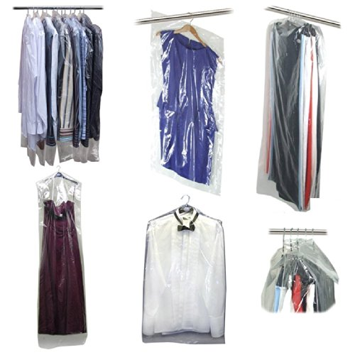 Hangerworld Pack of 50 Clear Polythene Long Gown Dress Garment Clothes Cover Bags - 42 Inches 80 Gauge (Disposable Plastic Garment Bags compare prices)
