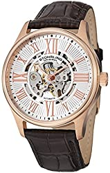 Stuhrling Men's 747.041 Automatic Skeleton Watch with Transparent Dial Stainless Steel Case On Brown Leather Strap