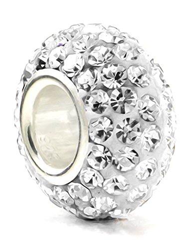 Diamanti color pietra della nascita Aprile, argento Sterling, con ciondolo in cristallo, colore: Bianco