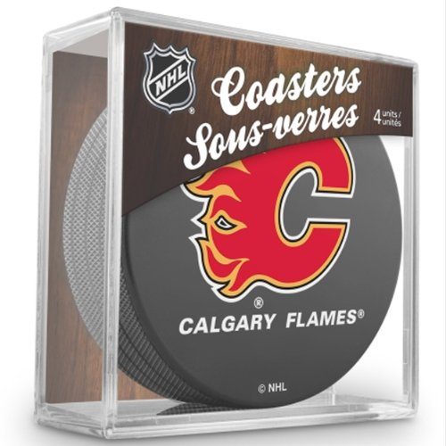 Sher-Wood-Calgary-Flames-NHL-Eishockey-Puck-Untersetzer-4er-Set