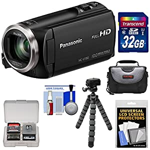 Panasonic HC-V180 HD Video Camera Camcorder with 32GB Card + Case + Flex Tripod + Kit