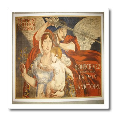 Ht_174165_3 Florene - French Vintage - Image Of Angel With Sword And Baby Painting - Iron On Heat Transfers - 10X10 Iron On Heat Transfer For White Material front-280692