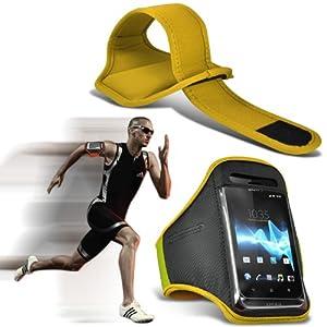 (Jaune) HTC One Mini 2 Sport Universal Brassards en cours Cyclisme Vélo Gym Jogging Débarrasser bande de bras de cas de couverture par Spyrox