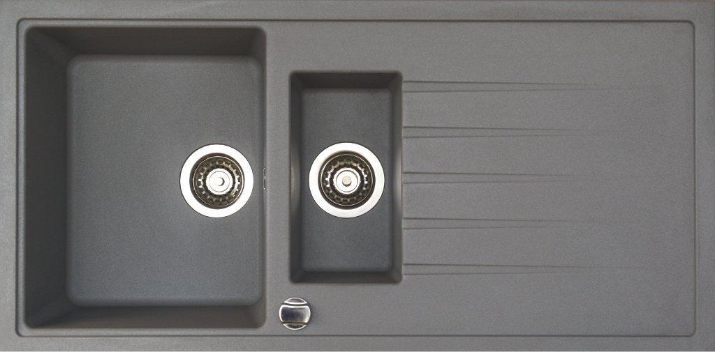 Granitspüle in grau Spüle Granit Einbauspüle Küchenspüle inkl. Drehexcenter Ab und Überlaufgarnitur reversibel ab 60 er Unterschrank 1,5 Becken mit Abtropfläche Restebecken mit Siebkorbventil  BaumarktBewertungen