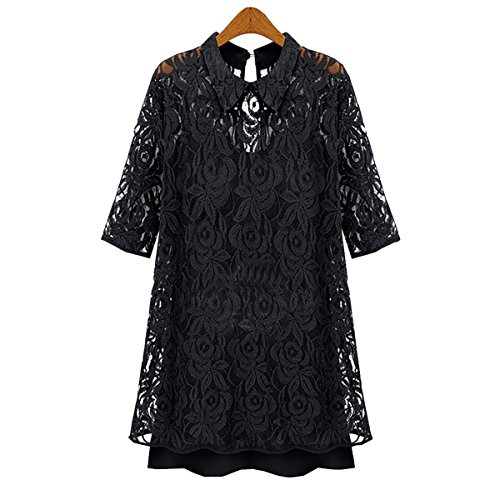 European Women's Two-piece Hollow Out Lace Dress Slim Chiffon Skirt Plus Size