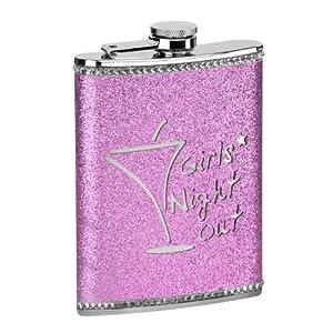 Premier Housewares Girls Night Out Glitter Hip Flask - 8 oz - Hot Pink