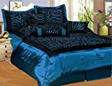 51uhBAAtgaL. SL160  NEW 7PC FAUX SILK FLOCKING BLUE BLACK ZEBRA PRINT QUEEN SIZE COMFORTER SET