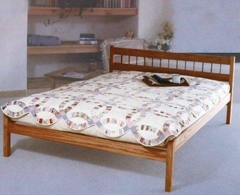 king size low mission platform bed frame made in usa solid oak dark danish oil. Black Bedroom Furniture Sets. Home Design Ideas