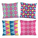 ShopMantra Simple Geometric Patterns Printed Cushion Cover Set of 4 16*16 Inch Multicolor Cushion Cover