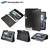 eLifeStore® Samsung Galaxy Note 10.1 Tablet Stand Leather Case Cover Multi-Function Flip Pouch with Touch Stylus Pen's Holder Design, includes FREE Bonus Gift: High Quality Screen Protector (GT-N8000 / GT-N8010) (Black)