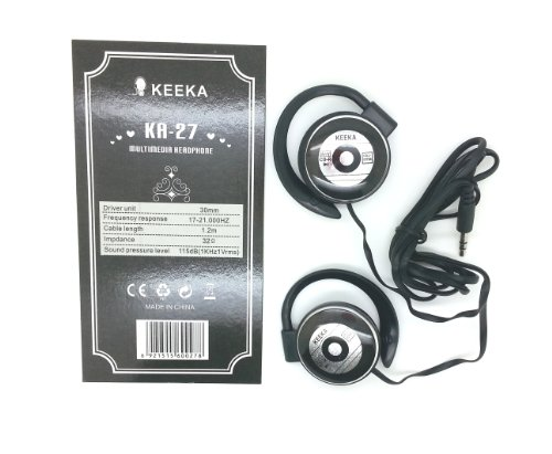 "Keeka ""Comfort Ear"" Bright Color Casque Stereo Headphones - Black (Ka-27-2)"