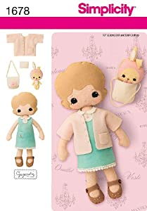 "Simplicity Sewing Pattern 1678 - 13"" Felt Doll- Clothes and Accessories Sizes: OS (One Size)"