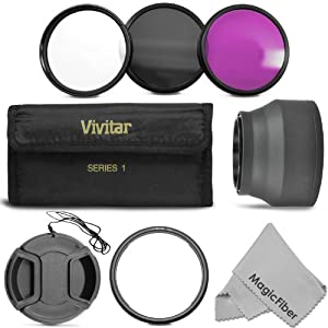 Essential Kit for CANON PowerShot SX50 HS - Includes: Lens Adapter Ring + Vivitar Filter Kit (UV, CPL, FLD) + Collapsible Soft Rubber Lens Hood + Center Pinch Lens Cap + MagicFiber Microfiber Lens Cleaning Cloth