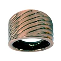 14k Chocolate Gold High Polished Ribbed-Design Ring, Size 5
