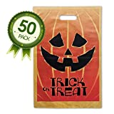 Halloween Jack O Lantern Trick Or Treat Bags - 50 Pack Goody Bags - Larger Size