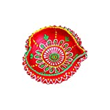 Word Tree Decorated Diwali Diyas, Vibrantly Hand Painted, Multi Coloured- Single Diya - Combo 18