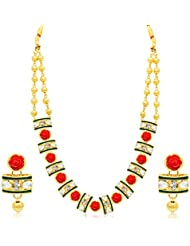 Sukkhi Lavish Flower Gold Plated AD Necklace Set For Women