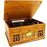 Antique Record CD Radio AM/FM & Cassette Player Light Brown Wood 4 in 1 Music System