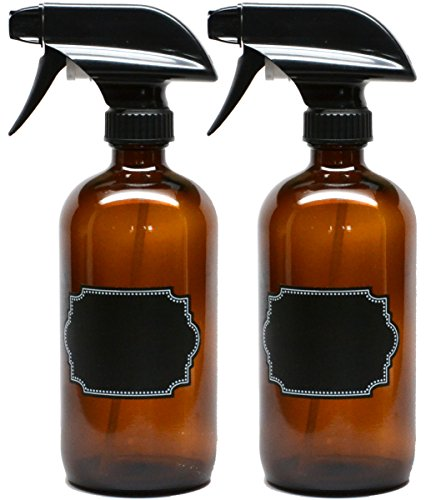 2 Pack Firefly Craft Amber Glass Spray Bottles with Chalkboard Labels, 16 ounces each (Dark Amber Spray compare prices)