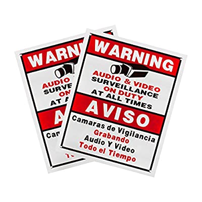Best Vision Security Surveillance Warning Sign 2-Pack - Plastic - Outdoor