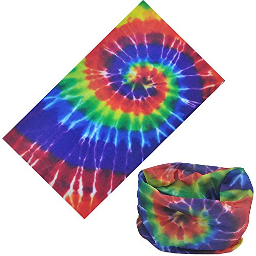 12-in-1 Headband [Prints] - Versatile Lightweight Sports & Casual Headwear - Bandana, Neck Gaiter, Balaclava, Helmet Liner, Mask & More. Constructed with High Performance Moisture Wicking Microfiber Tie Dye One Size