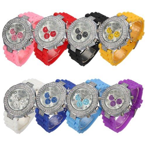 Silicone Gel Crystal Rhinestone Quartz Fashion Ladies Women Jelly Wrist Watch White