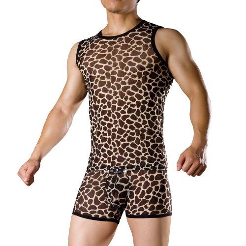 Mens Brown and Beige Colour Leopard Pattern Vest Tops, Size M (MHN2229)