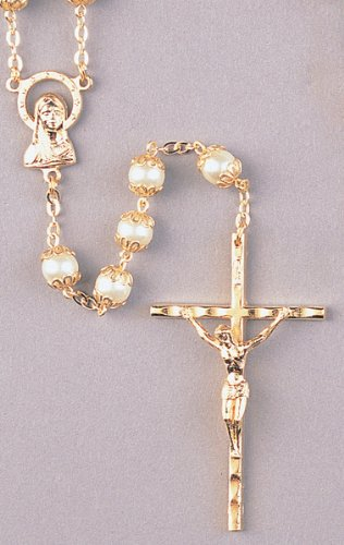 Wedding Rosary -7mm Double Capped Pearl Beads - 22