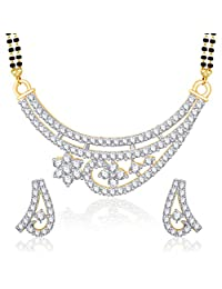 VK Jewels Shining Star Gold And Rhodium Plated Mangalsutra Pendant Set With Earrings-MP1182G [VKMP1182G]