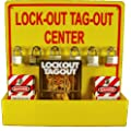 "NMC LOTO3 Lock-Out Tag-Out Center Kit with Handbook and 10 Lockout Tags, 16"" Width X 16"" Height, Acrylic, Yellow"