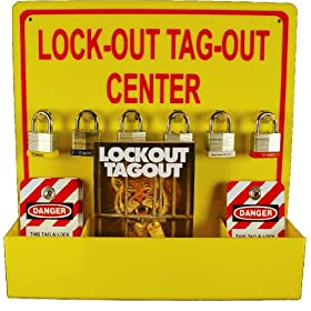 NMC LOTO3 Lock-Out Tag-Out Center Kit with Handbook and 10 Lockout