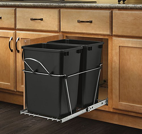 Rev-A-Shelf - RV-18KD-18C S - Double 35 Qt. Pull-Out Black and Chrome Waste Container (Can Shelf compare prices)