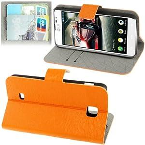 Rocina poche housse bois style dans orange pour LG P875 Optimus F5 avec de positionnement
