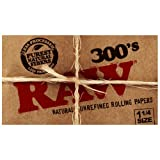 "ONE Pack RAW Brand 1-1/4"" Classic Natural Unrefined Hemp Gum Rolling Papers 300 Leaves Total"