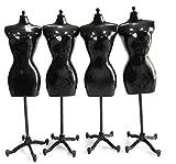 ドール トルソー 黒 ブラック 22cm 4個 ネックレス付き ミニチュア マネキン 1/6 着せ替え 人形 洋服 ドレス