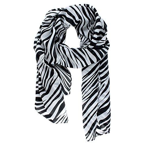 Kobwa(TM) Chiffon Zebra Strips Striped Women Shawl Scarves Wrap With Kobwa's Keyring