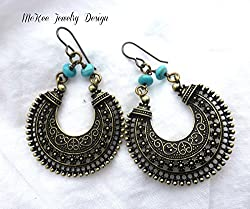 Turquoise blue rondelle stone and bronze metal earrings. Bohemian, boho, indie, jewelry. Handmade jewelry, jewellery.