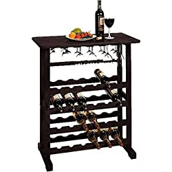 Espresso Vinny 24-bottle Wine Rack, Multiple Finishes, Holds 24 Bottles of Wine and up to 18 Long-stem Wine Glasses