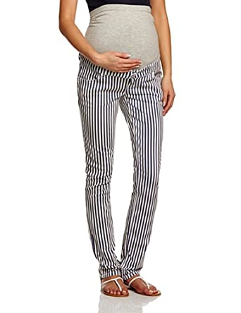Mamalicious Shelly Striped Slim Women's Maternity Trousers, White Cap Grey, W27INxL32IN