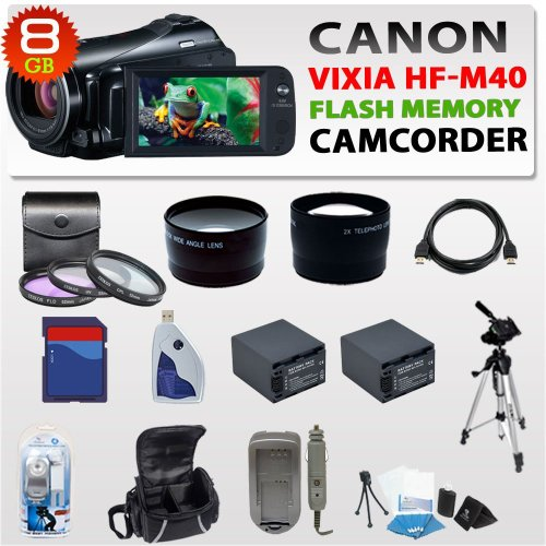 Canon Vixia Hf-m40 Hf M40 Hfm40 Flash Memory Camcorder with Wide Angle Lens + 2x Telephoto Lens + 3 Pc Filter Kit + 8gb Sdhc Memory Card + 2x Batteries + Carrying Case + Tripod & More !!