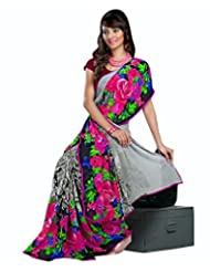 Indian Ethnic Sari Attractive Floral Printed Faux Georgette Saree By Triveni