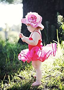 Candy Pink Dot Sun Hat with Peony