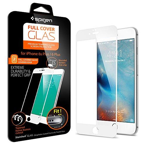 Spigen iPhone6s Plus ガラス フィルム, フルカバー グラス [ 全面液晶保護 9H硬度 發油加工 ] アイフォン6s プラス /  6 プラス 用 (ホワイト SGP11635)