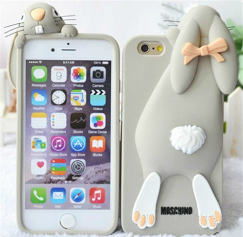 все цены на  Iphone 6 Cover, Iphone 6 Plus Protective Case, Cute Cartoon 3d Soft Silicone Back Cases Covers [2015 New] Anti-slip, Good Grip, Anti-shock, Soft Slim, Scratch Resistant Protection Silicone Rubber 3d Adorable Cover Perfect Fit for Iphone 6 4.7 Inch Screen  онлайн