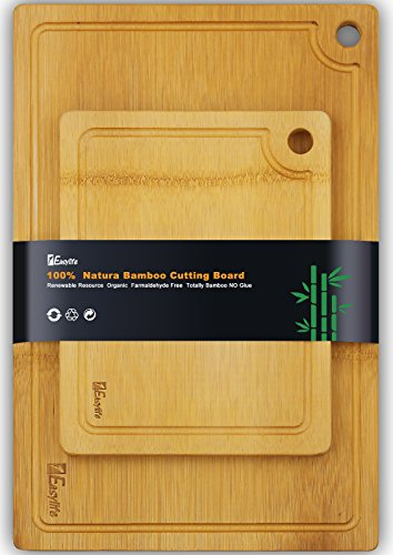 1Easylife 2-Piece Organic Bamboo Cutting Board, Extra Large & Medium Size Set, All-Natural and 100% Anti-Bacterial, Perfect For Meat & Veggie Prep, Serving Bread and Cocktail Bar Board (Bamboo Cutting Board With Groove compare prices)