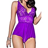 Singlelady Sexy Lingerie Open Crotch Leotard Teddy Nightwear Lace Miniskirt Babydoll (XX-Large, Purple)